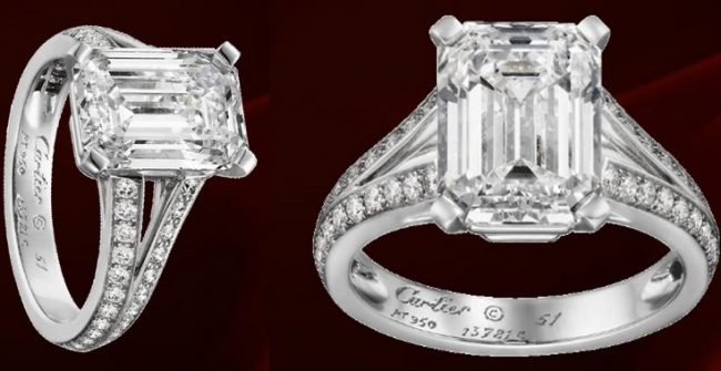 Cartier emerald cut diamond ring, World's Most Expensive Engagement Rings 2017