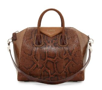 Givenchy-Antigona Mixed Exotic Satchel Bag, Light Brown Multi