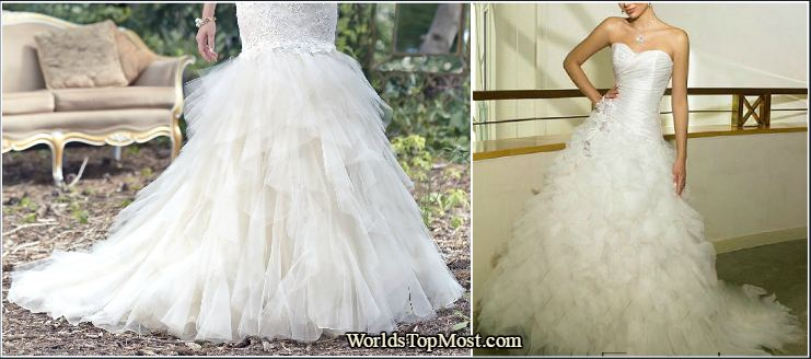 Lace mermaid with feathers at the skirt wedding dresses 2016-2017