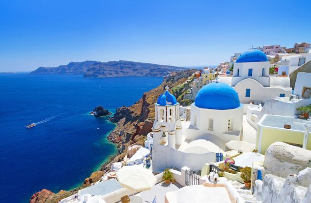 Santorini and Mykonos islands and Corfu, Greece