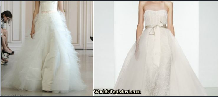 Strapless silk faille sheath with a tulle overskirt wedding dresses 2016-2017