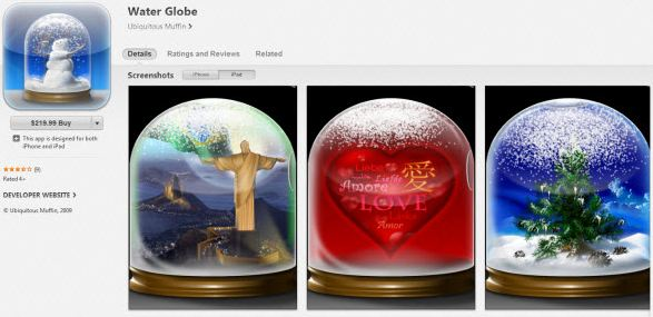Water Globe World's Most Expensive Apps 2017