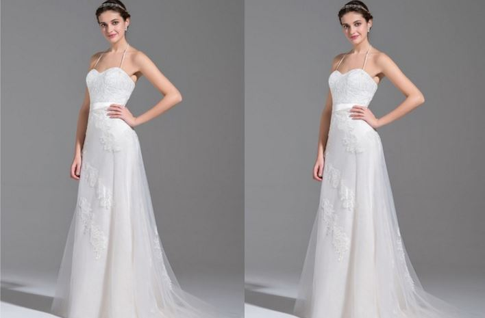 A-Line-Princess Halter Sweep Train Chiffon Tulle Wedding Dress With Ruffle Lace Beading Top 10 Best Selling Wedding Dresses 2017