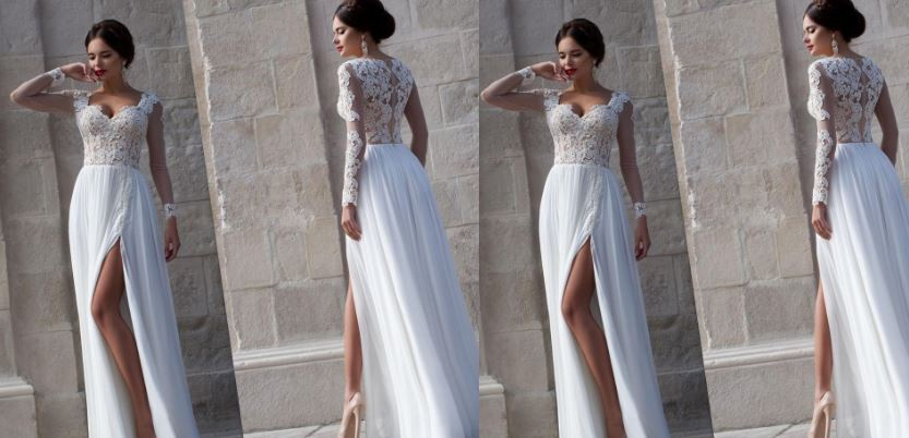 strapless-chiffon-a-line-wedding-dress-with-a-high-slit