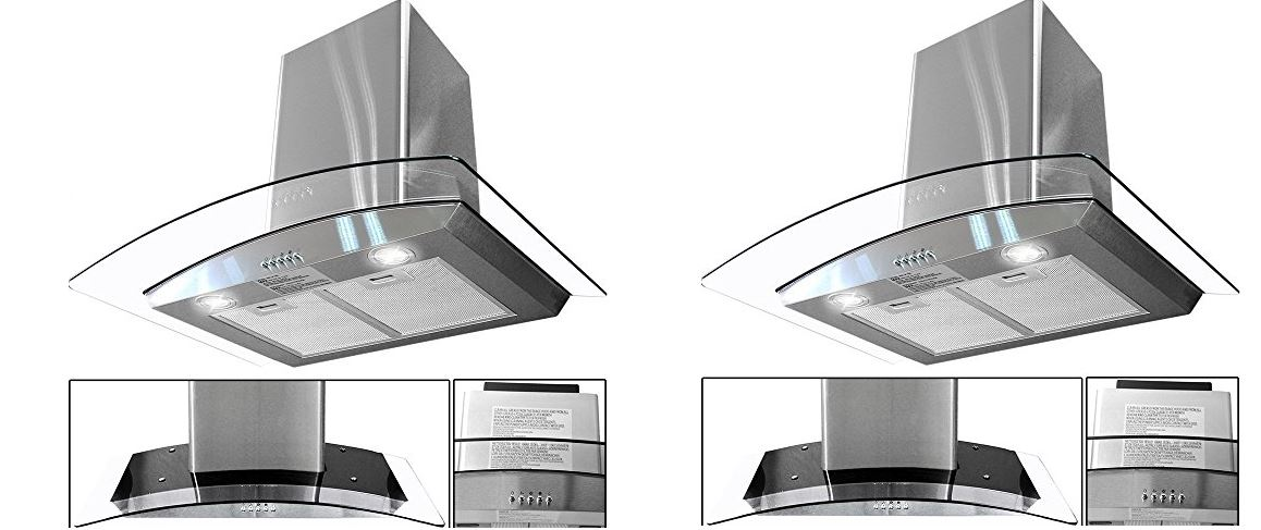 Toyofmine Wall Mount Stainless Steel Glass range Hood
