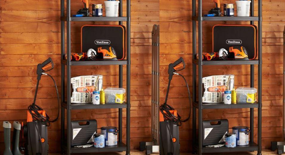 VonHaus Four Tier Garage Shelving Unit with wall Bracket
